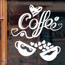 [SHIJUEHEZI] Coffee Love Cup Windows Sticker Shop Door Wall Sticker Kitchen Fridge Wall Tile Stickers Cuisine Home Decoration(China)