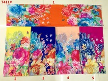 150cm width printed soft chiffon fabric flowers pattern for scarf and headband LS-J7411