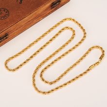 24k Gold color Filled Necklace Chain for Men and Women Necklace Bracelet Gold rope Chain Necklace High Quality(China)