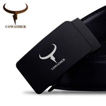 Cowather 100% auténticos cinturones de cuero de vaca de alta calidad para los hombres de lujo masculina correa hebilla automática cinturones hombre envío libre