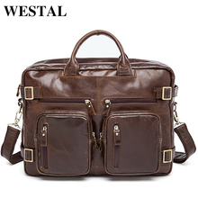 WESTAL Genuine Leather Men Bag Men's Briefcases 14inch Leather Laptop Bag business Male men travel Tote crossbody Bags 341(China)