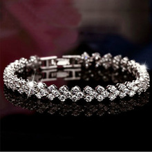 Fashion Women Silver Plated Chain Link Charm Bracelets Female Tennis Bracelets Wedding Jewelry Wholesale Hand Chain