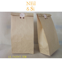 Kraft Paper Bakery Bag White Gift Baking Bread Handmade Cookies Food Cake packaging Bags 12.5*7.5*25cm Free Shipping(China)