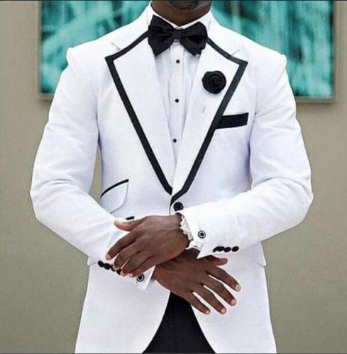 2017 Latest Coat Pant Designs New White Groom Tuxedos Shawl Lapel with Black Pants blazers Wedding Men Suits terno masculino
