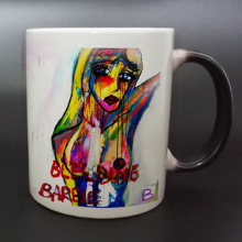 DIY Photo Magic Color Changing Coffee Mug printing with Bleeding Barbie From a famoust artist painting pictures(China)
