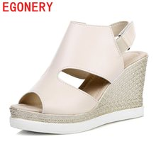 EGONERY fashion sandals woman new style platform wedges high heel back strap high heels party shoes pigskin insole shoes 2017