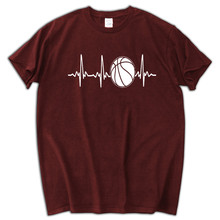 New Fashion Men's Short Sleeve T Shirt Cotton Pulse Heartbeat Basketballer Printed T-Shirt Pure Cotton Men(China)