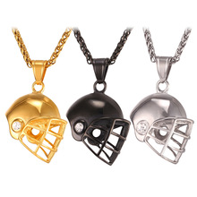 New Hot Golden American Football Helmet Pendant Necklace Stainless Steel/Gold Color Rugby Ball Sport Jewelry For Men GP2459(China)