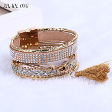 ZH.KH.ONG 2017 Vintage Rhinestone Tassel Bracelets & Bangles Jewelry Multilayer Leather Bracelet Magnetic buckle S15 - ZH KH ONG Store store