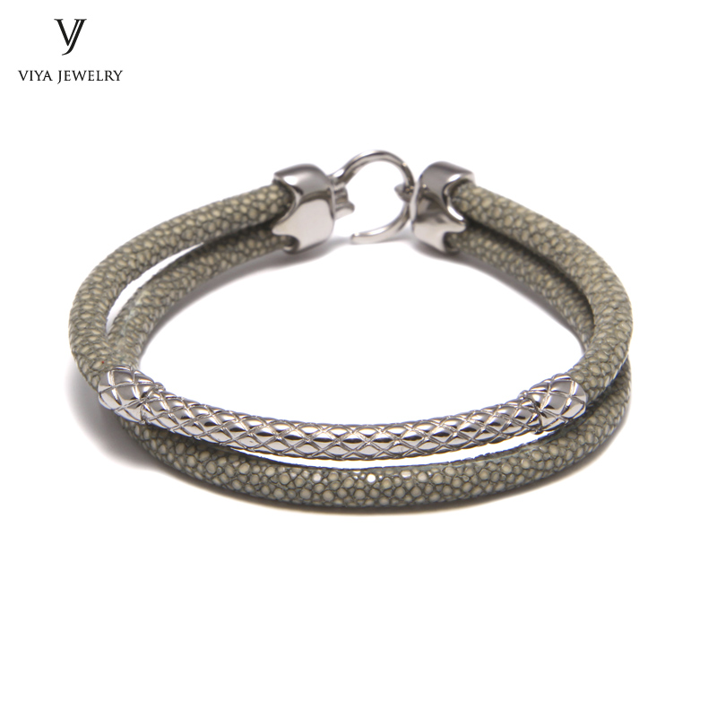 Handcrafted Luxury Custom Stingray Silver Bracelets Two hand-wrapped Stingray leather cords Men Bracelet With Pure Silver Clasp-VSST-03 (7)
