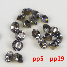 size pp7-pp19 Color  BLACK DIAMOND loose pointback glass chaton rhinestones China quality  1400 pcs per pack