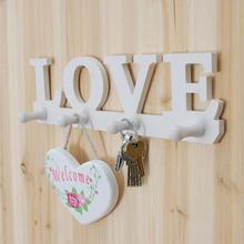LOVE Shape Wooden Frame Wall Door mount Decorative Hook Bathroom Pendant hanger Coat Hat Clothes Robe Key Holder Rack s2