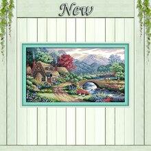 Красивая ферма сцена Европа Пейзажи, 11ct напечатаны на холсте DMC 14ct вышивки крестом комплект, рукоделие вышивка набор, живописные Домашний Де...(China)