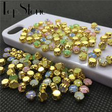 200pcs 5mm Round Resin chatons Sew on Stone Pink,Blue,Green,White,Mix Opal Colors crystal strass with gold D claw rhinestones(China)