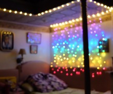 Connect 2M Rainbow led curtain icicle string lights led fairy lights Christmas lamps Icicle Lights Xmas Wedding Party Decoration(China)