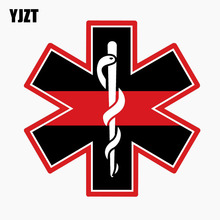 YJZT 12CM*12CM Reflective Car Sticker EMT Cross Red Line Hard Hat Personality The Tail Of The Car Decal C1-7682(China)