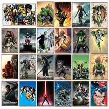The Avengers Captain America She Hulk Wolverine Batman Superhero Poster Wall Plaque Pub Bar Home Decor Vintage Metal Signs YN175(China)