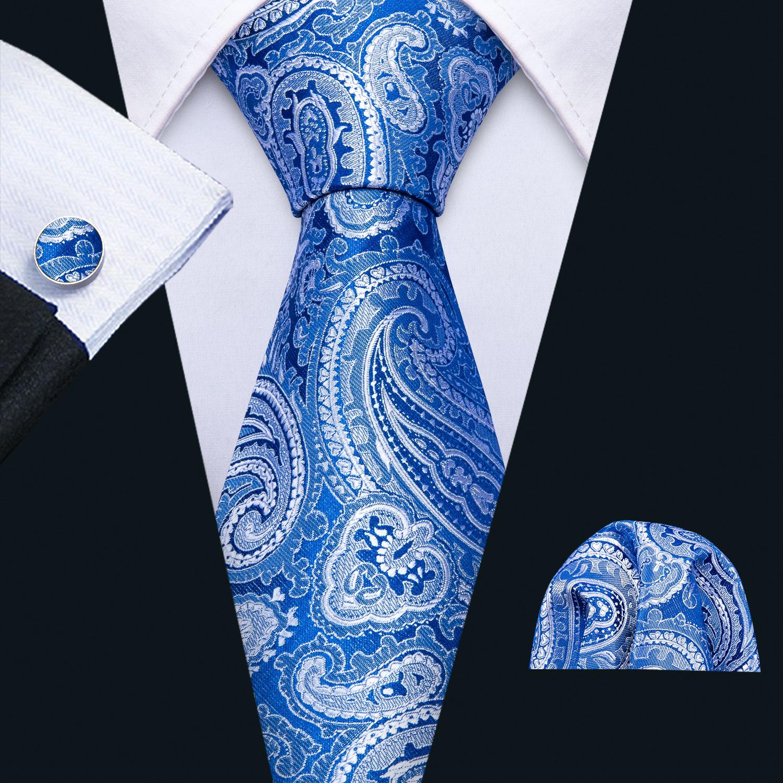 Mens Wedding Tie Blue Paisley Silk Tie Hanky Set Barry.Wang 8.5cm Fashion Designer Neck Ties For Men Party Dropshipping FA-5147