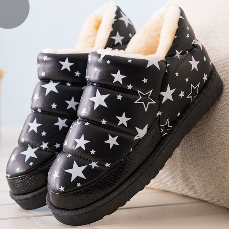 2017 fashion polka dot star printing botas women warm fur flat winter shoes for ladies thick platform waterproof snow boots<br><br>Aliexpress