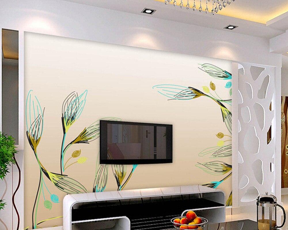 Custom flowers wallpaper 3D, simple hand painted flower murals for the living room bedroom TV background waterproof wallpaper<br>