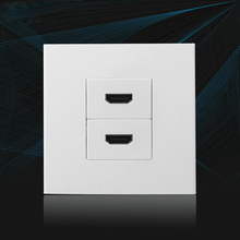 White Color HDMI1.4 Bending 90 Degree HDMI Wall Outlet 86x86mm Worldwide Using Faceplate