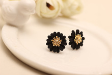 2017 new  design summer style  fashion brand jewelry  elegant black earrings for women daisy flower statement  for girls