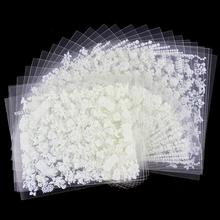 24 Pcs/Lot Beauty White Different Design Glitter 3D Nail Stikcers Diy Nail Art Decorations Tools For Manicure Nails JH165