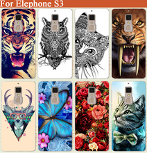 "elephone s3 Case Cover High Quality DIY Tiger Owl Rose Cat Eiffel Towers Painted Soft Tpu Back Cover For elephone s3 5.2"" Cases"