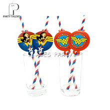 Party supplies 12pcs  Wonder Woman theme straws party decoration biodegradable paper straw tube eco friendly