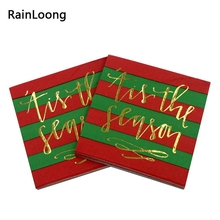 [RainLoong] 3Plys Gold Foil Christmas Paper Napkin Tis The Season Tissue Napkin Serviettes For Party Cocktail 25*25cm(China)