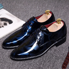 mens patent leather oxford dress shoes luxury brand gloosy male footwear italian formal cool party ballet flats shoes for men