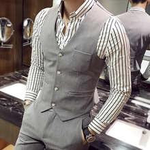 high-quality goods cotton Fashion pure color the bridegroom's best Man wedding dress waistcoat Men's formal business suit vests(China)
