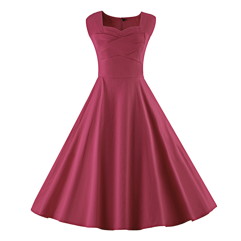 Kostlich 6 Color Retro Summer Dress Women 2017 Sleeveless Hepburn 50s Vintage Dress Elegant Big Swing Rockabilly Party Dresses (12)