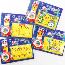[TOOL]2017 Anime Japanese Go Pokemon Pocket Monster Pocket Center Cartoon Children's Electronic Watch + Purse Set #0013(China)