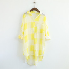 Thin Cotton Fabric Summer The New Lapel Lattice Pocket Blouse Single-breasted Loose Long Sleeves Sunscreen Shirt Women