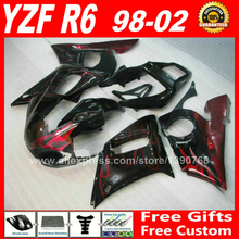 MOTOMARTS hot selling Fairings kit for YAMAHA YZF R6 98 99 00 01 02 red flames ABS parts fairing kits 1998 1999 2000 2001 2002 X