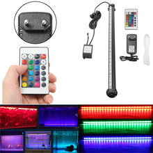 RGB Colorful Light Remote Fish Tank Aquarium 27 LED Air Bubble Changing Light Strip Submersible