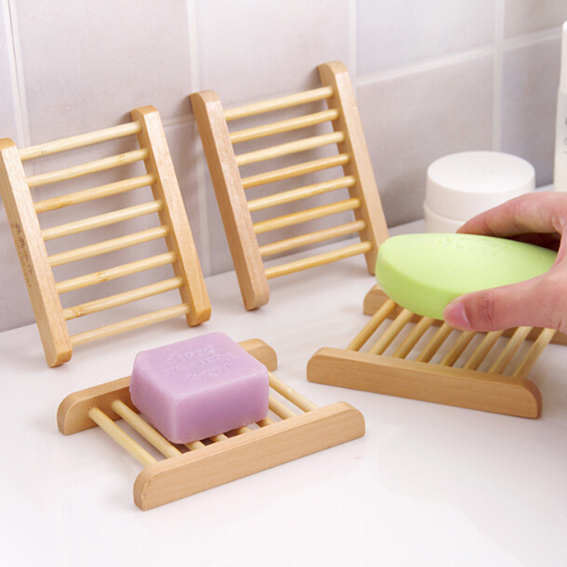 Natural Bamboo Soap Holder Dish Bathroom Shower Plate Stand Storage Wood Tray HK