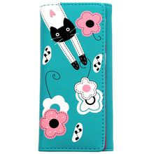 New cute cartoon cat pattern girl clutch Long wallet women PU leather change purse Lady card holder coin purse students Carteira
