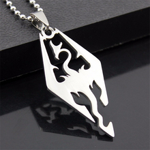 New Stainless Steel Dinosaur Pendant Necklace Skyrim Elder Scrolls Dragon Pendants Fashion Necklace for Men Jewelry wholesale