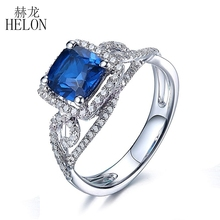 HELON 1.55ct Sapphire Ring 7mm Cushion Solid 10K White Gold Pave Natural Diamonds Ring Engagement Wedding Gemstone Diamonds Ring