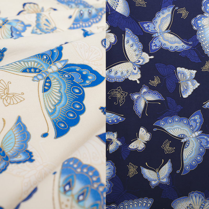 LEO&LIN 2017 Retro DIY Butterfly White Blue Printing Clothing Cotton Cloth Patchwork Cotton Fabric Tissus ONLY 50cm 50%OFF(China)