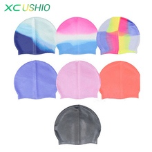 Quality Silicone rubber Children swimming cap Adult men women waterproof swim caps hat swimming accessories free shipping