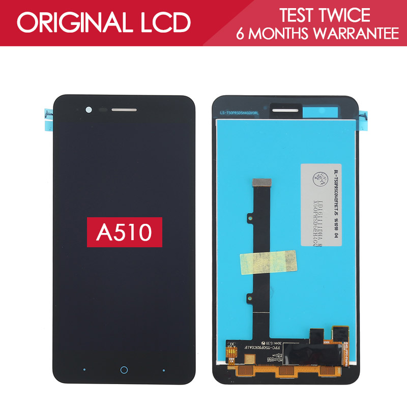 100% Tested Original 5.0 inch Black 1280x720 Display For ZTE Blade A510 LCD Whit Touch Screen Replacement<br><br>Aliexpress
