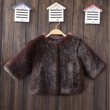 2017 Childrens Fur Coats Littly Boys Winter Faux Fur Jackets O-Neck Soft Fox Fur Clothes for girls Kids Faux Minks Coats Smooth