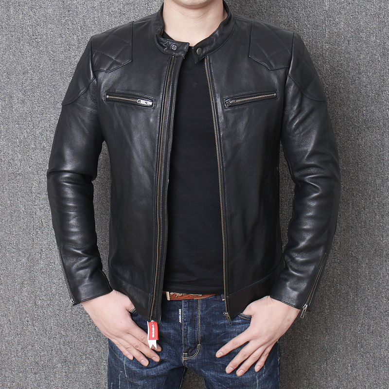 Free shipping.Sales classic motor biker leather jacket,fashion men's genuine leather coat,winter warm slim sheepskin Beckham