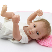 10 Inches Handmade Reborn Baby Doll Girl Full Silicone Vinyl Princess Dolls Wearing White Clothes Children Birthday Gift