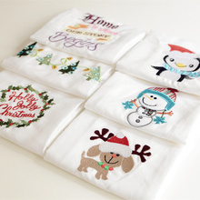 High-quality Christmas White Cotton Tea Towel Napkins Embroidered Table Napkins Kitchen Dishcloths wiping bowl towel wine towel