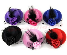 6pcs/lot Ladys Mini Feather Rose Top Hat Cap Lace fascinator Hair Clip Costume Accessory Y106