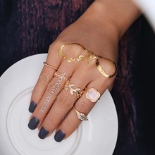 Cloaccd Punk Vintage 5Pcs/Set Gold Color Midi Finger Ring Sets Fashion Crystal Leaf Pink Stone Knuckle Rings For Women(China)
